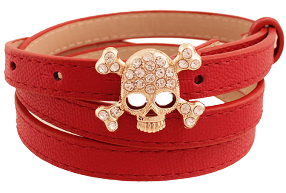 Womens Skinny Leather Dress Belt - Rhinestone Studded Skull Belt Buckle by Belle Donne - Red One Size