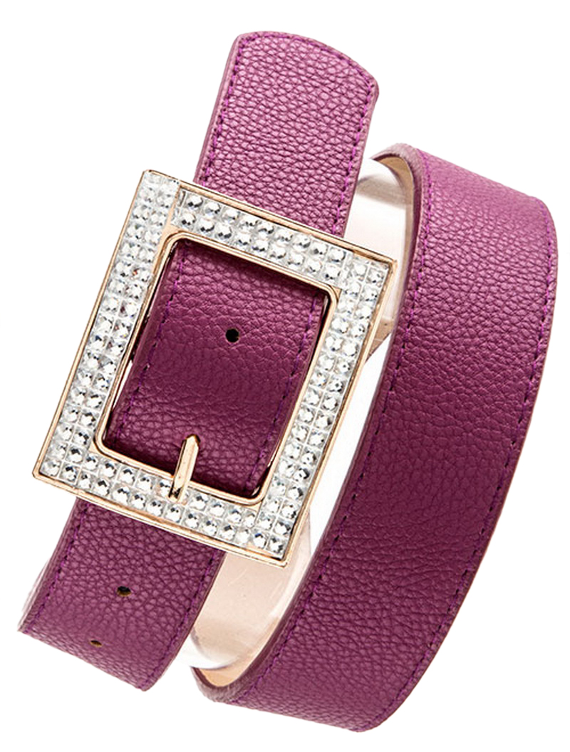 Belle Donne Women Dress Belts Rhinestone Buckle Fashion Belts Many Styles Colors - Wine