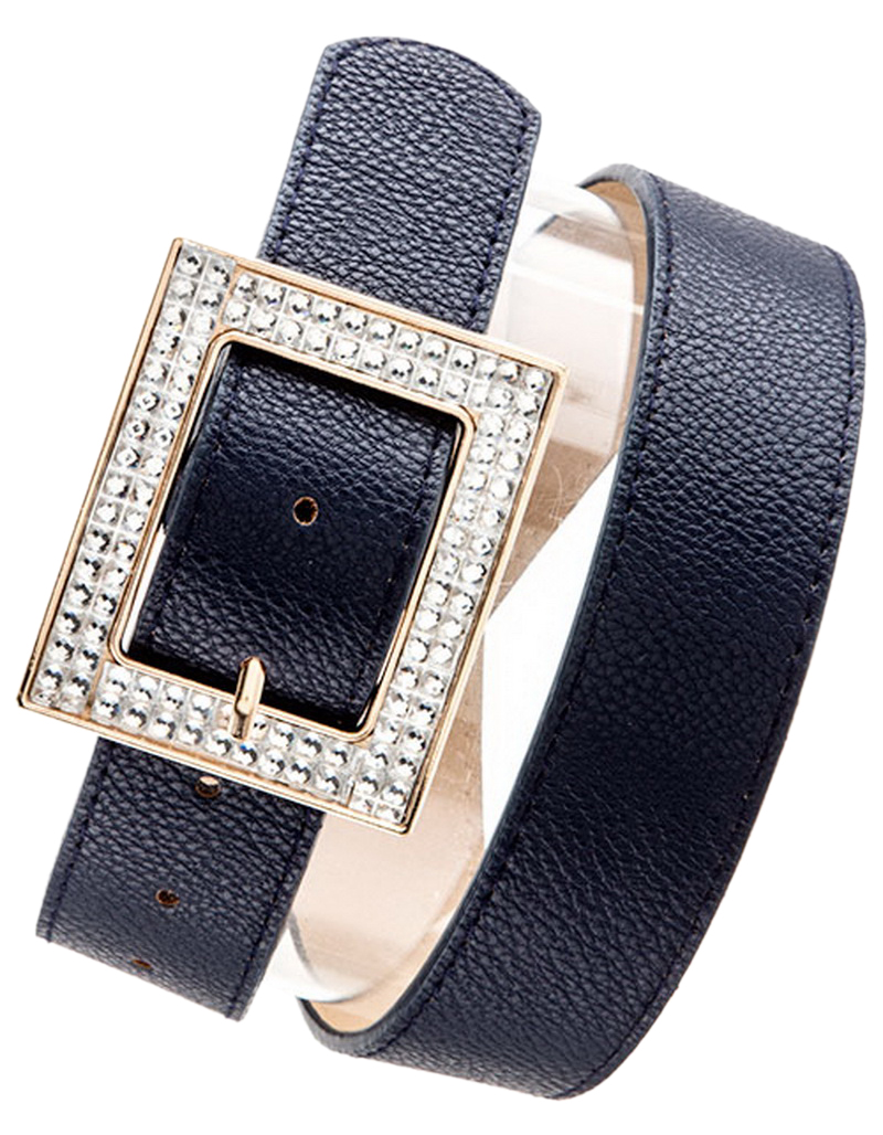 Belle Donne Women Dress Belts Rhinestone Buckle Fashion Belts Many Styles Colors - Navy