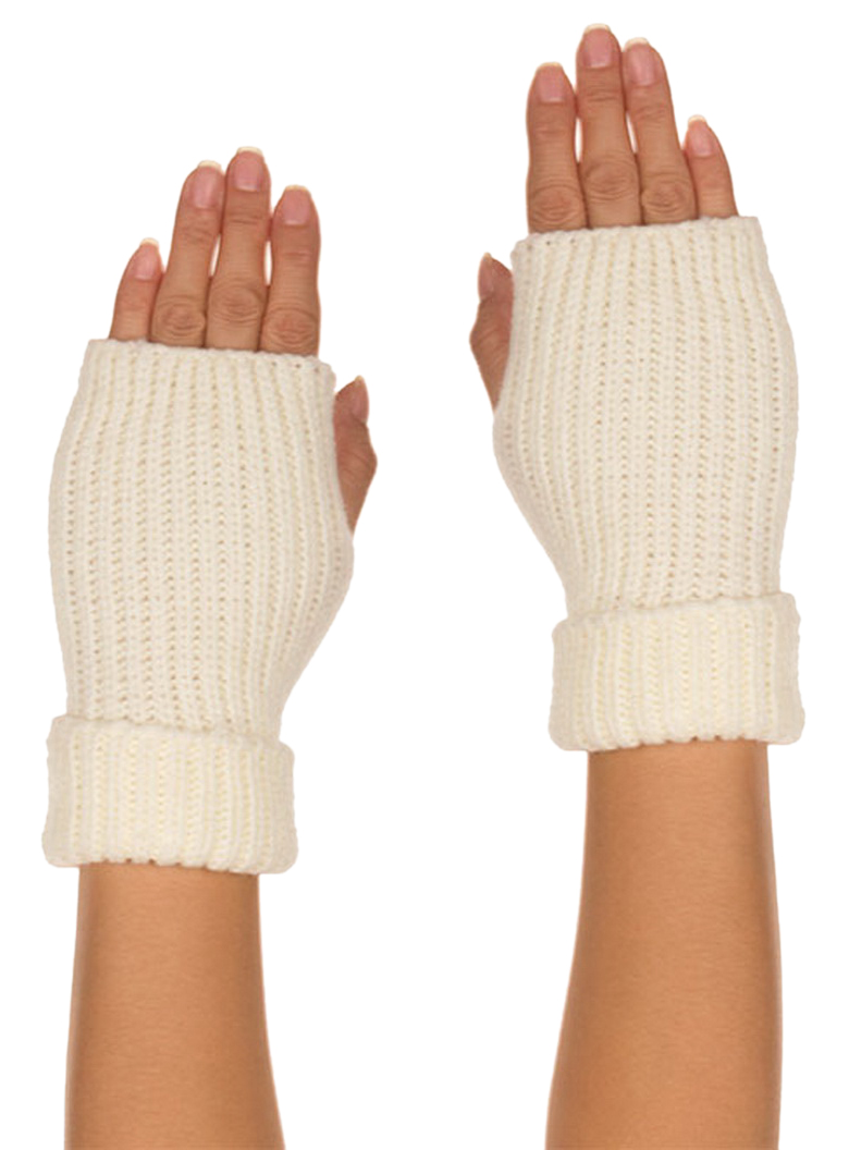Belle Donne - Women's Warm Fingerless Soft Gloves Faux Wool Many Styles n Colors - White