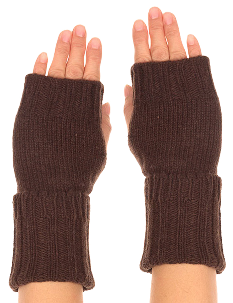 Belle Donne - Women's Warm Fingerless Long Gloves Faux Wool Many Styles n Colors - Brown