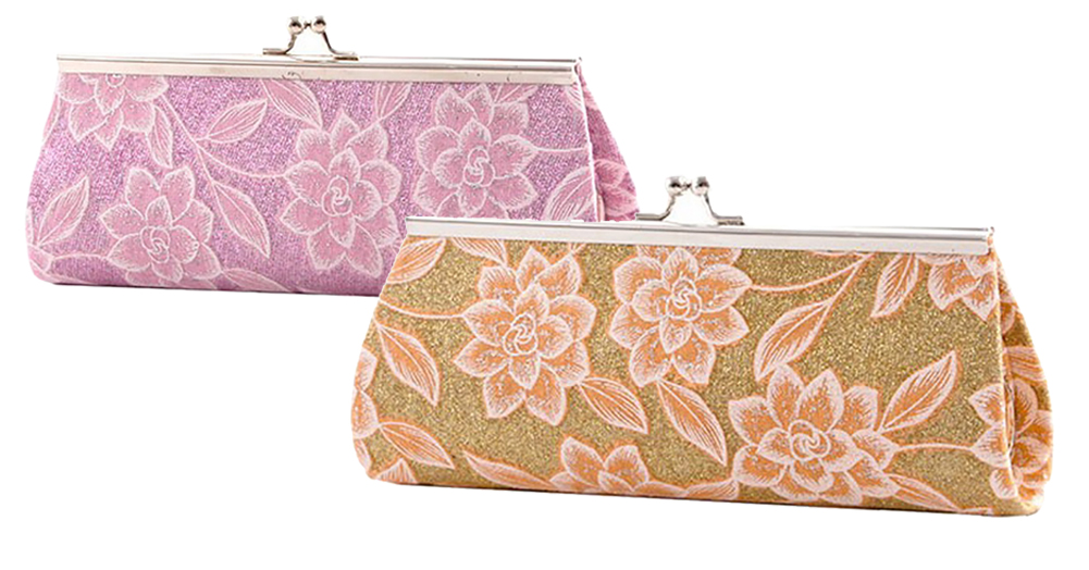 Long Hard Cover Clutch With Glittered Fabric And Flower Print Detail