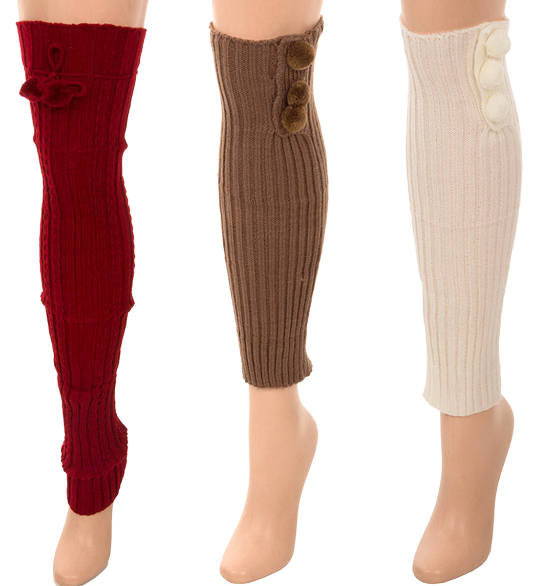 Belle Donne- Leg Warmer Solid Ribbed Knit Tie With Pom Pom Or Flower For Winter