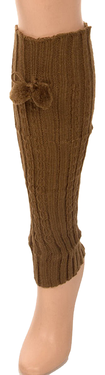 Belle Donne- Leg Warmer Solid Ribbed Knit Tie With Pom Pom Or Flower For Winter - Tan
