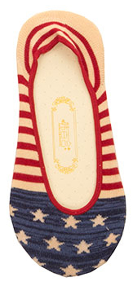 Women's American USA Flag Theme No Show Liner Socks Red White Blue Ankle Socks