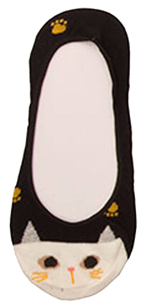 Shop72 Donne Women's Low Cut Kitty Cat Liner Ankle Socks - No Show Ankle Sock Liner Cat Face Sock Loafers - Black