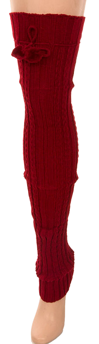 Belle Donne- Leg Warmer Solid Ribbed Knit Tie With Pom Pom Or Flower For Winter - Burgundy