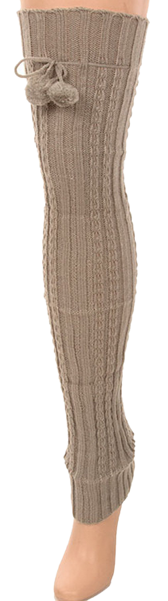Belle Donne- Leg Warmer Solid Ribbed Knit Tie With Pom Pom Or Flower For Winter - Gray