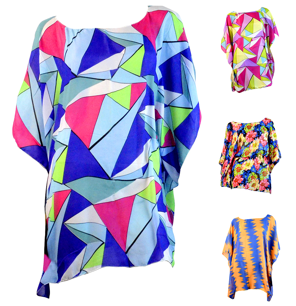 Women's Tie Dye Pattern Chiffon Caftan Poncho Tunic Top Hot Summer Trend