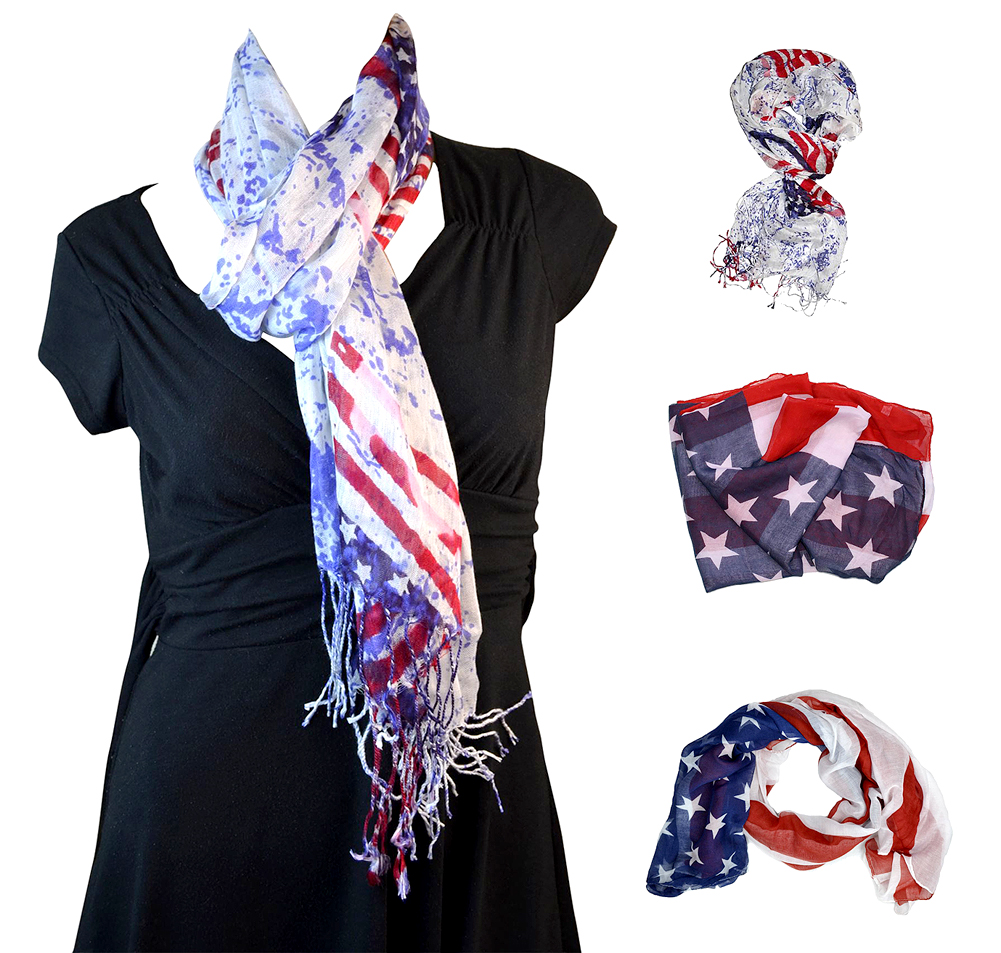 Belle Donne- US Flag Scarf Women Fashion Patriotic Scarves - American Flag