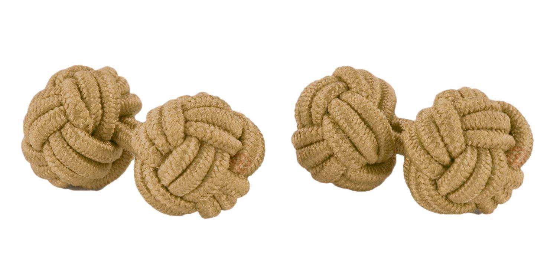 Moda Di Raza- Mens Shirt Cufflinks Silk Knot Designer Cuff links French Cuffs - Gold