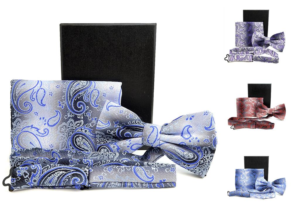 Moda Di Raza- Men Bowtie Handkercheif Set Premium Woven Fabric Satin Silk