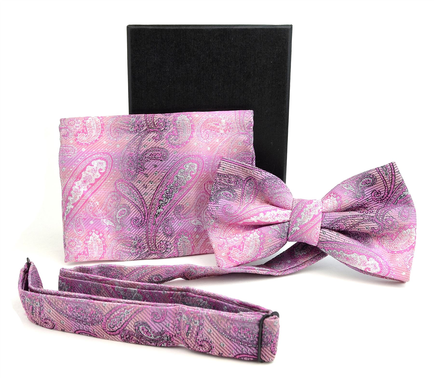 Moda Di Raza- Men Bowtie Handkercheif Set Premium Woven Fabric Satin Silk - Pink