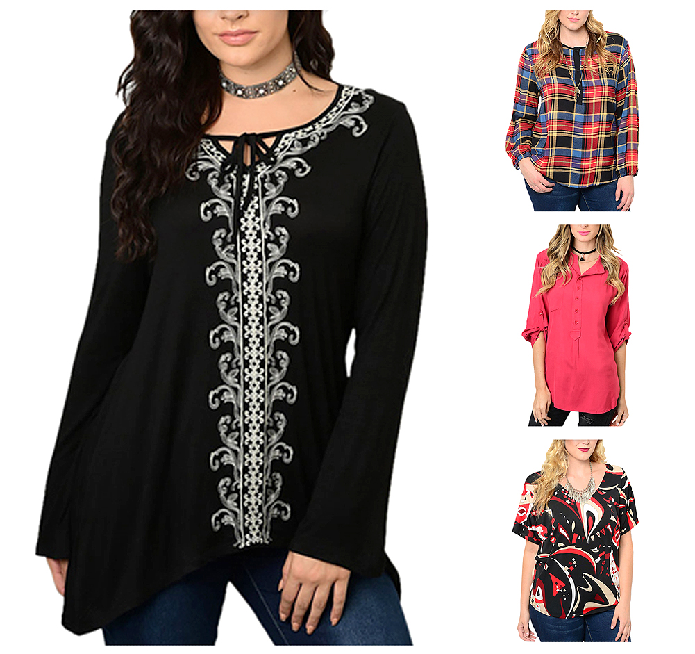 Belle Donne Big Women Tops Blouse Full or 3/4 Sleeve Casual Tunic Plus Size