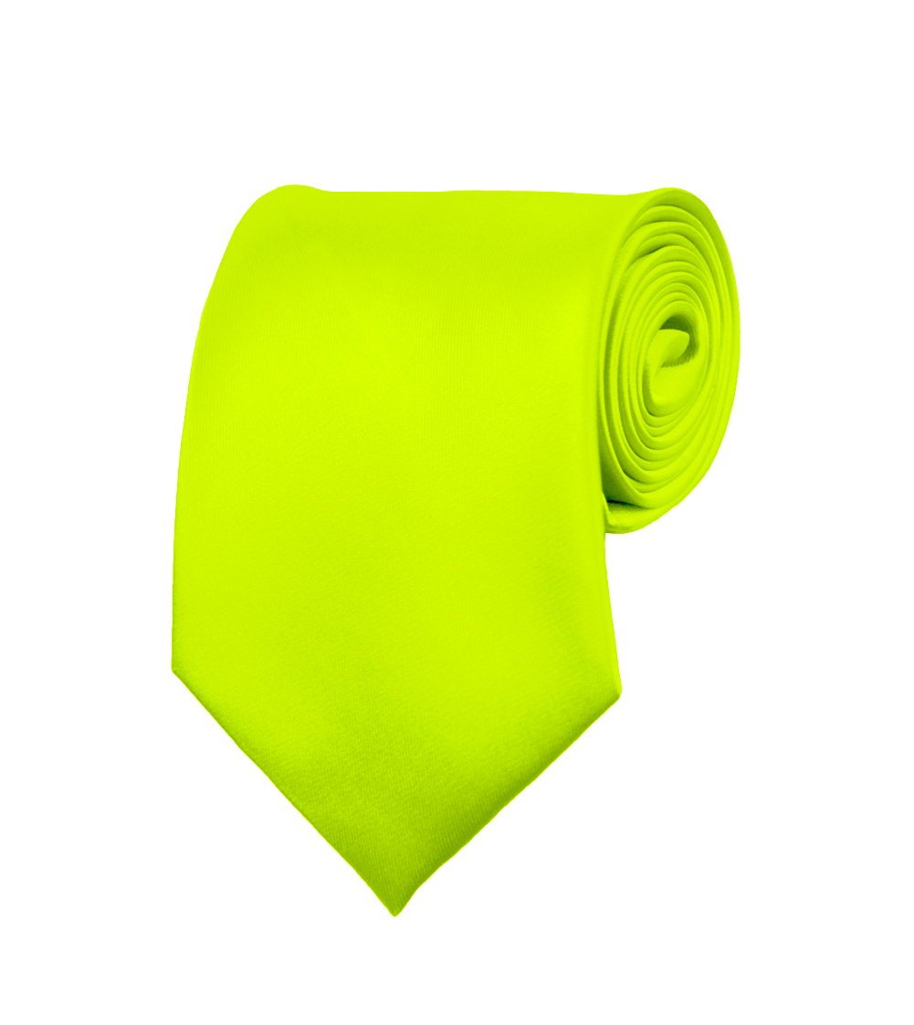 "Mens Neckties - Solid Color Ties - Multiple Colors - Classic 3.5"" width Long Ties by Moda Di Raza - Lime Green"