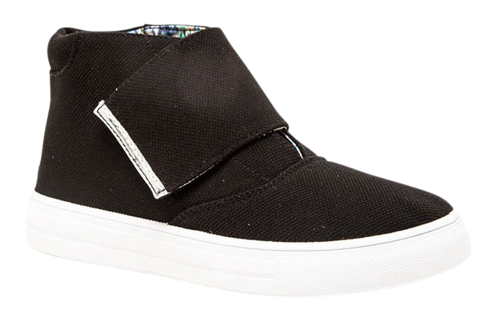 High Top Sneaker Casual Women Shoes With Velcro Fold Over Strap Ribbed collar