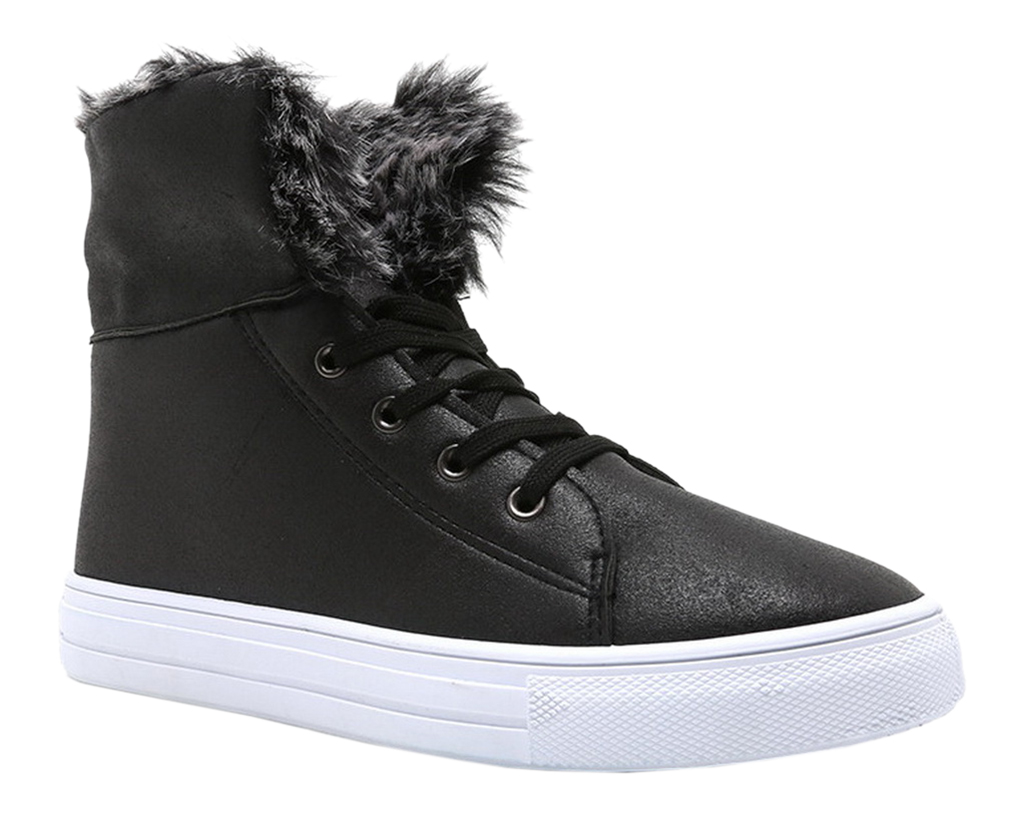 Atheletic Fashionable Fold Over Lace Up Front Sneakers Fold Over Fur Distress Leatherette Round Toe Women Shoes