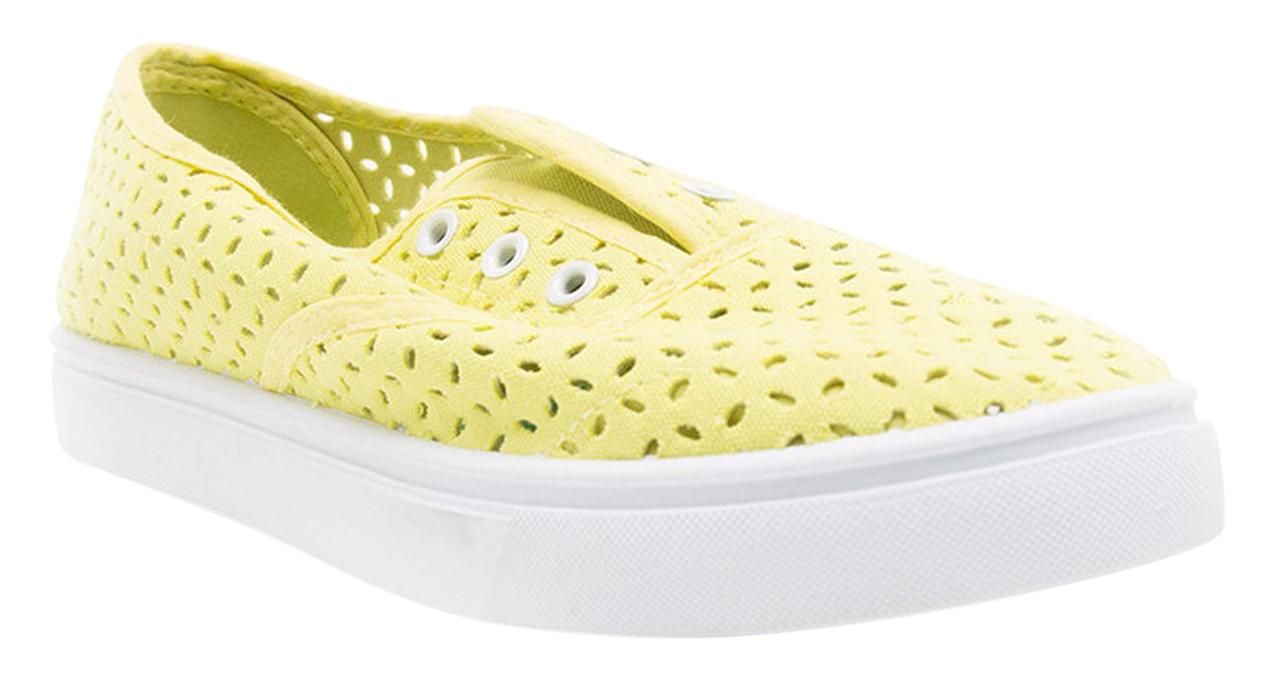 Casual Stylish Laceless Perforated Slip On Round Toe Women Shoes