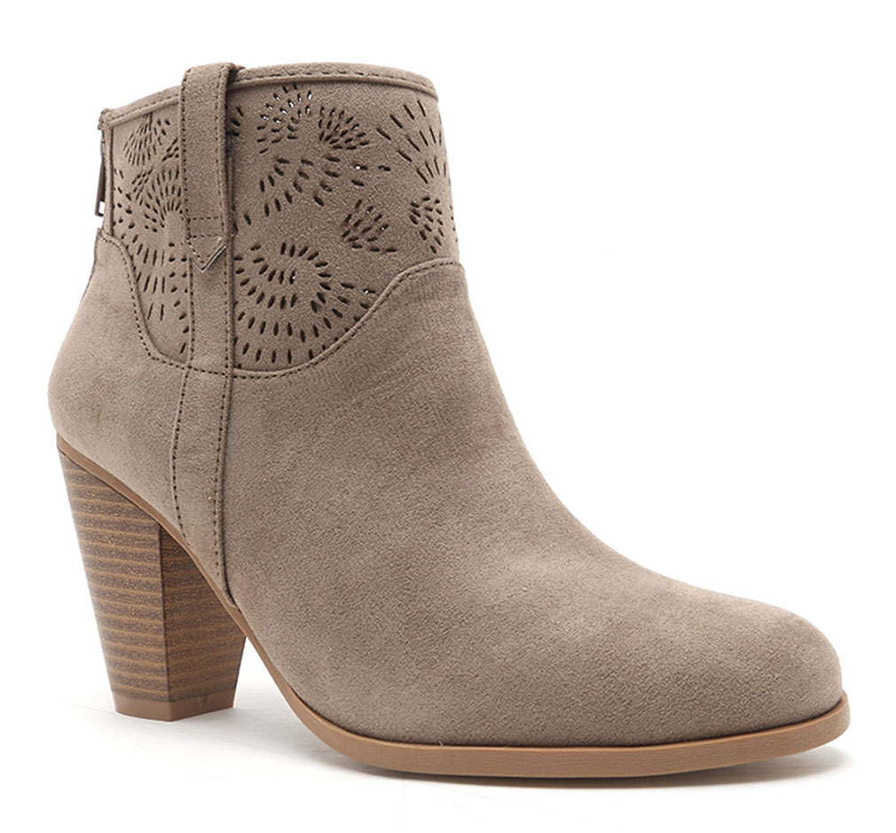 Women Cut Out Bootie Lace Up  Slip On High Heel Platform Wedge Ankle Bootie - Taupe/6