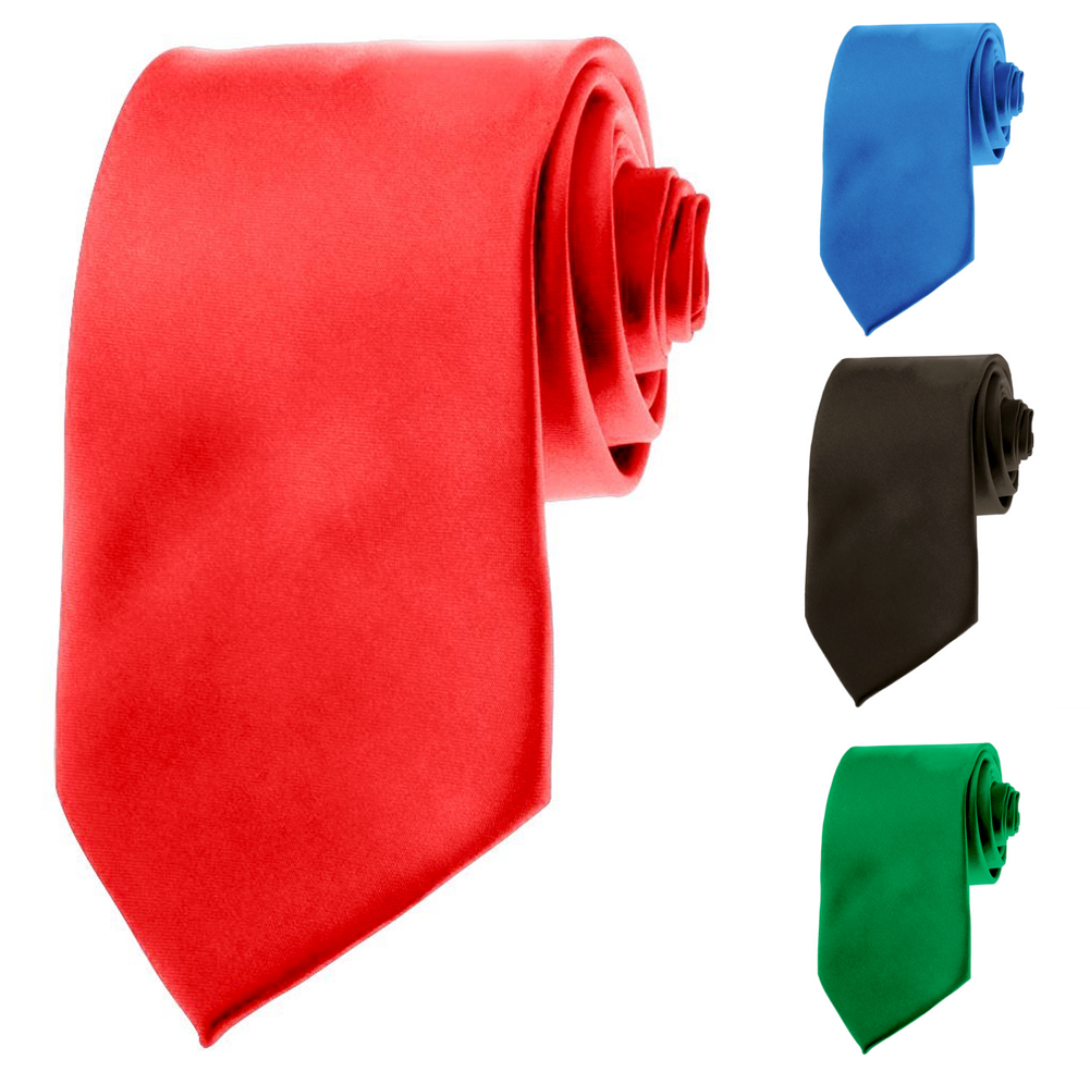"Mens Neckties - Solid Color Ties - 3.5"" Basic Neck Ties for Men"