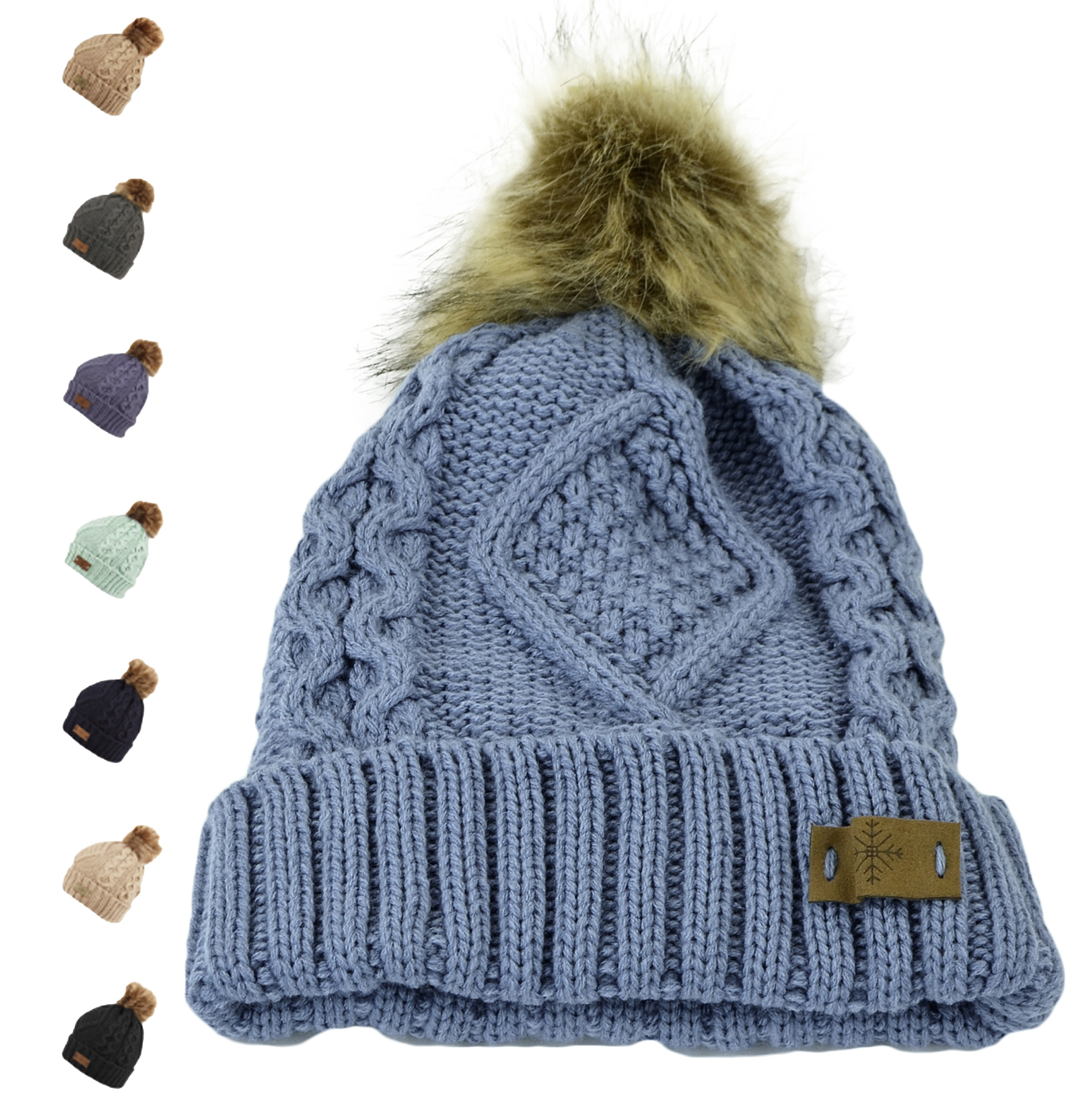 Belle Donne - Women's Winter Fleece Lined Cable Knitted Pom Pom Beanie Hat
