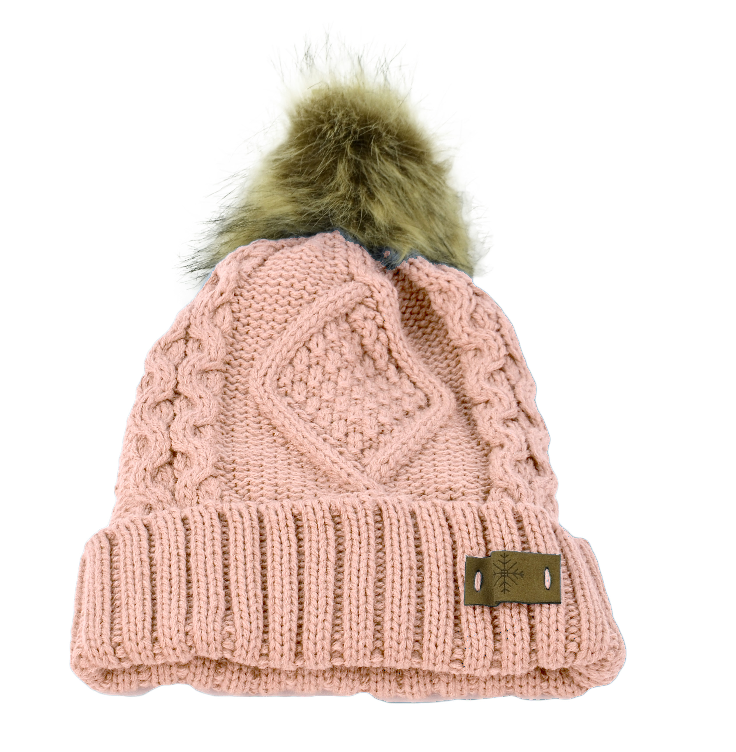 Belle Donne - Women's Winter Fleece Lined Cable Knitted Pom Pom Beanie Hat - INDI PINK