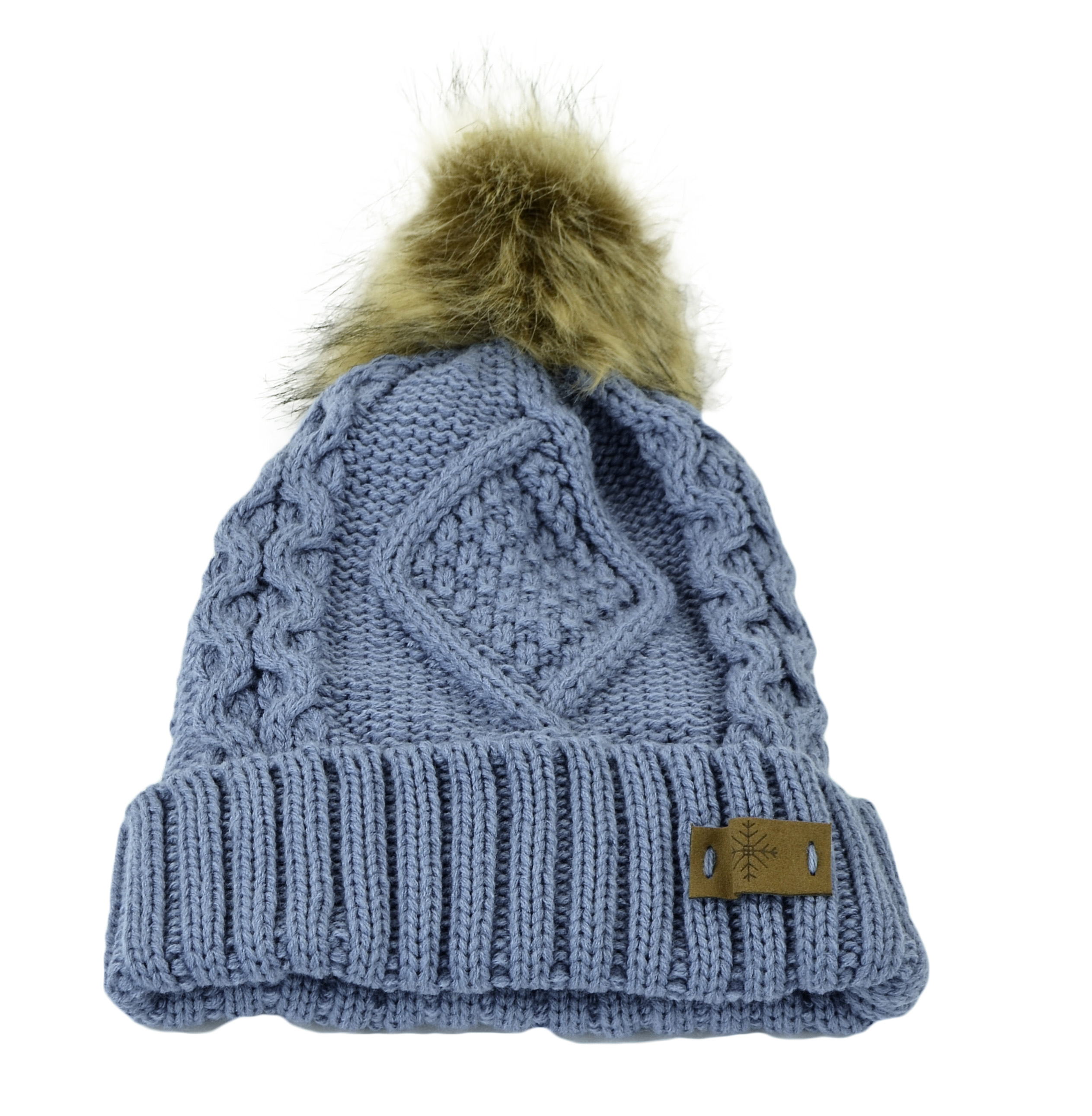 Belle Donne - Women's Winter Fleece Lined Cable Knitted Pom Pom Beanie Hat - INDI BLUE