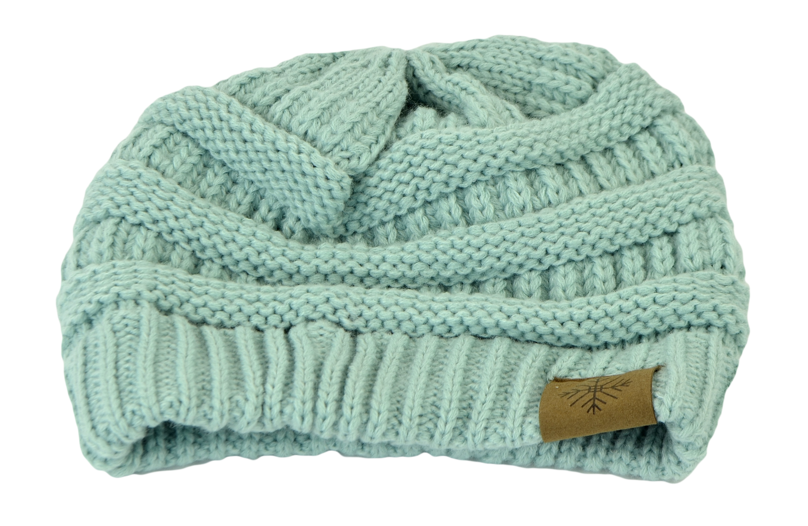 Belle Donne Women's Winter Fleece Lined Cable Knitted Pom Pom Beanie Hat - Mint-II
