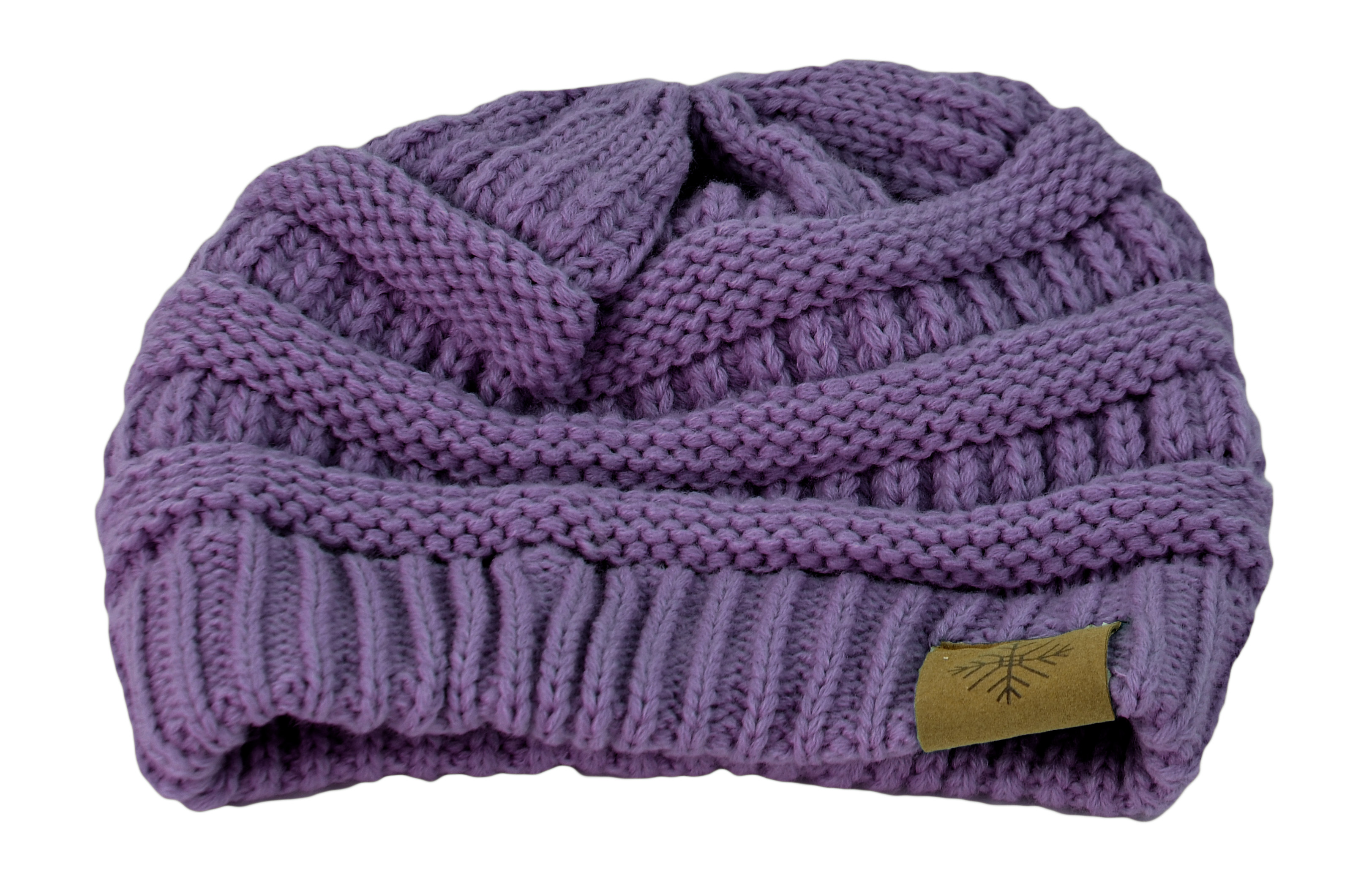 Belle Donne - Women's Winter Fleece Lined Cable Knitted Pom Pom Beanie Hat - Lavender-II