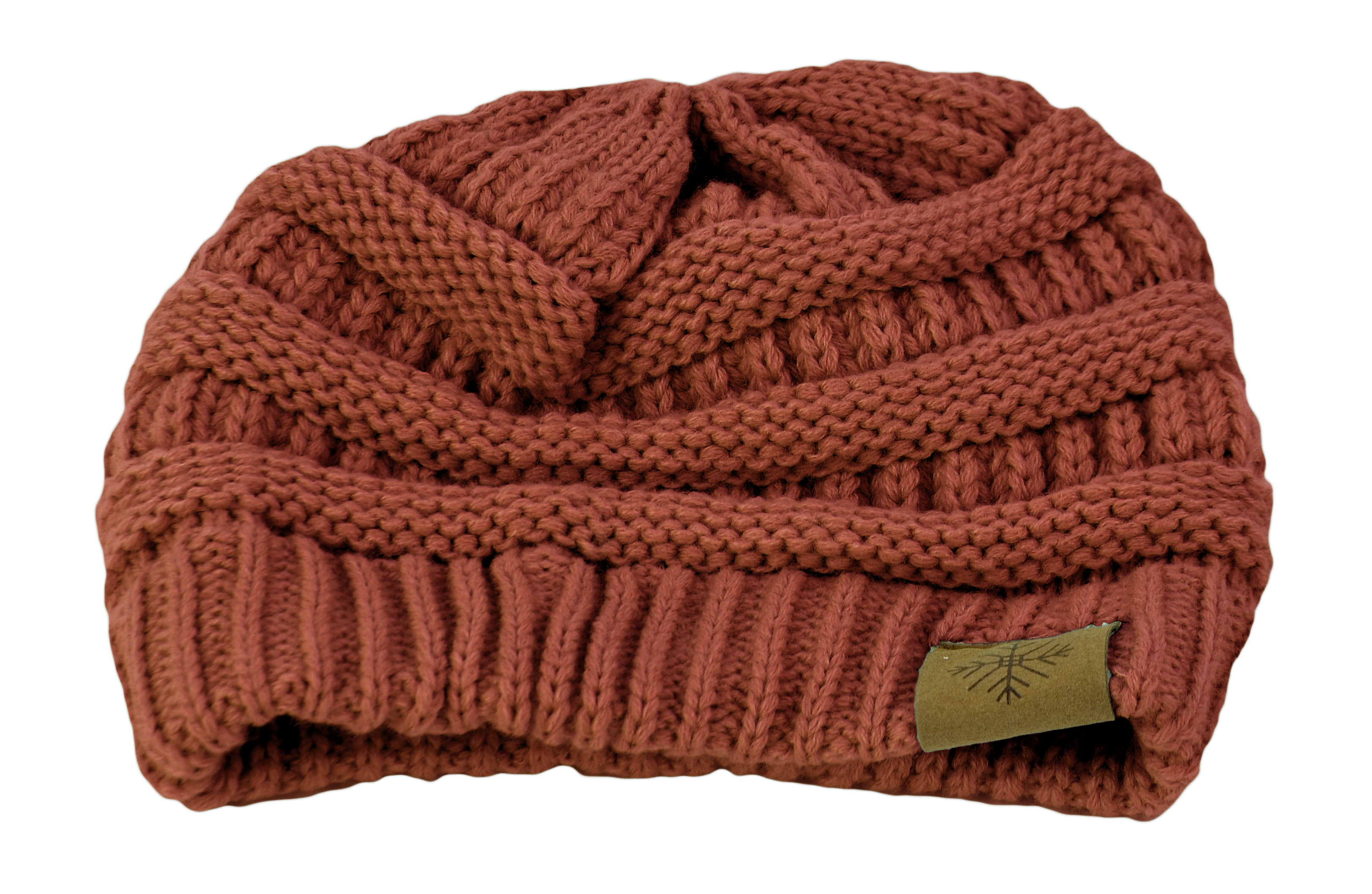 Belle Donne - Women's Winter Fleece Lined Cable Knitted Pom Pom Beanie Hat - Rust