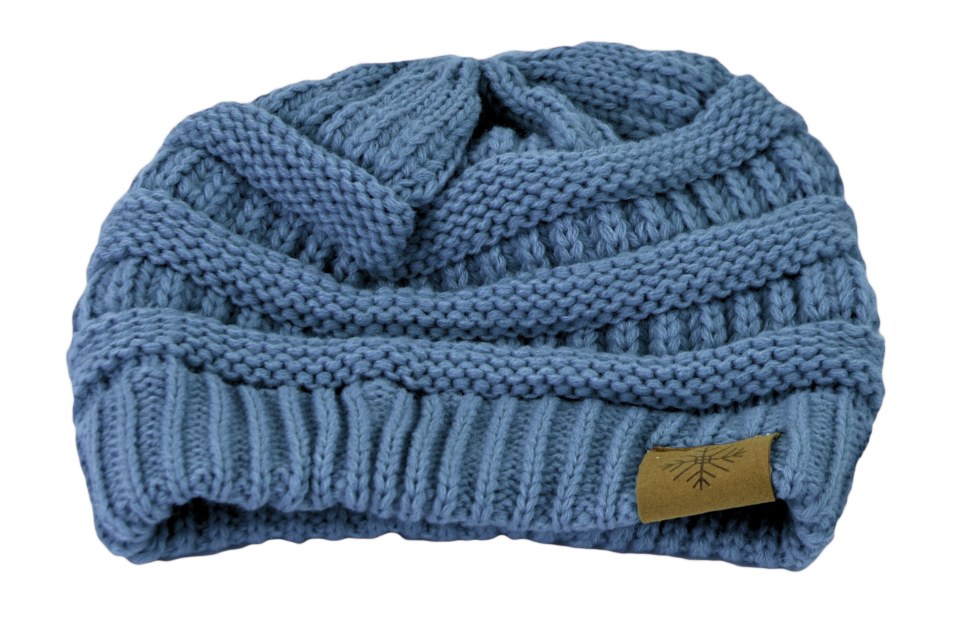 Belle Donne - Women's Winter Fleece Lined Cable Knitted Pom Pom Beanie Hat - INDI BLUE-II