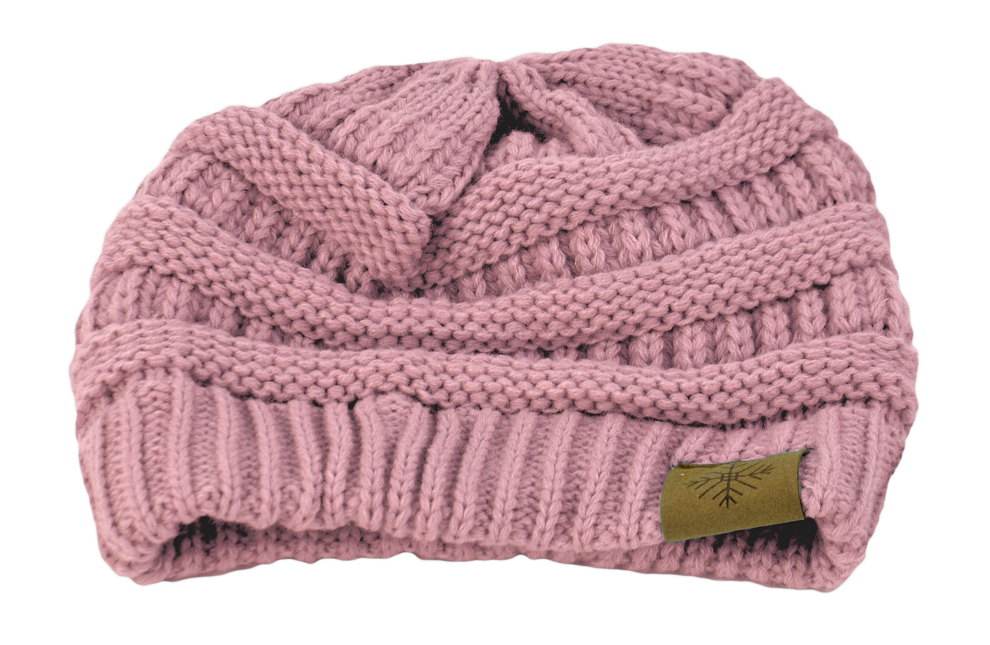 Belle Donne - Women's Winter Fleece Lined Cable Knitted Pom Pom Beanie Hat - Pink-II