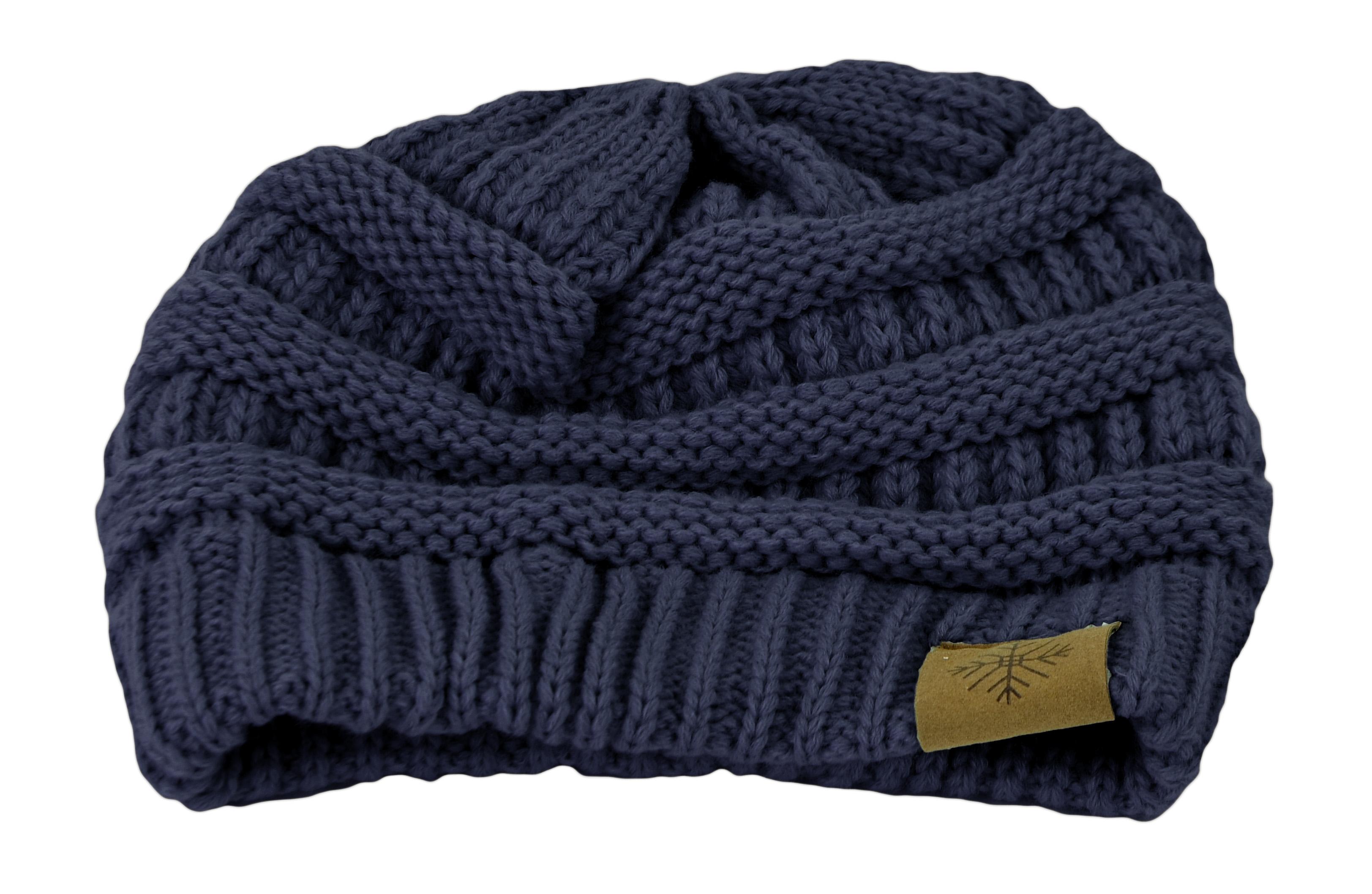 Belle Donne - Women's Winter Fleece Lined Cable Knitted Pom Pom Beanie Hat - Navy Blue