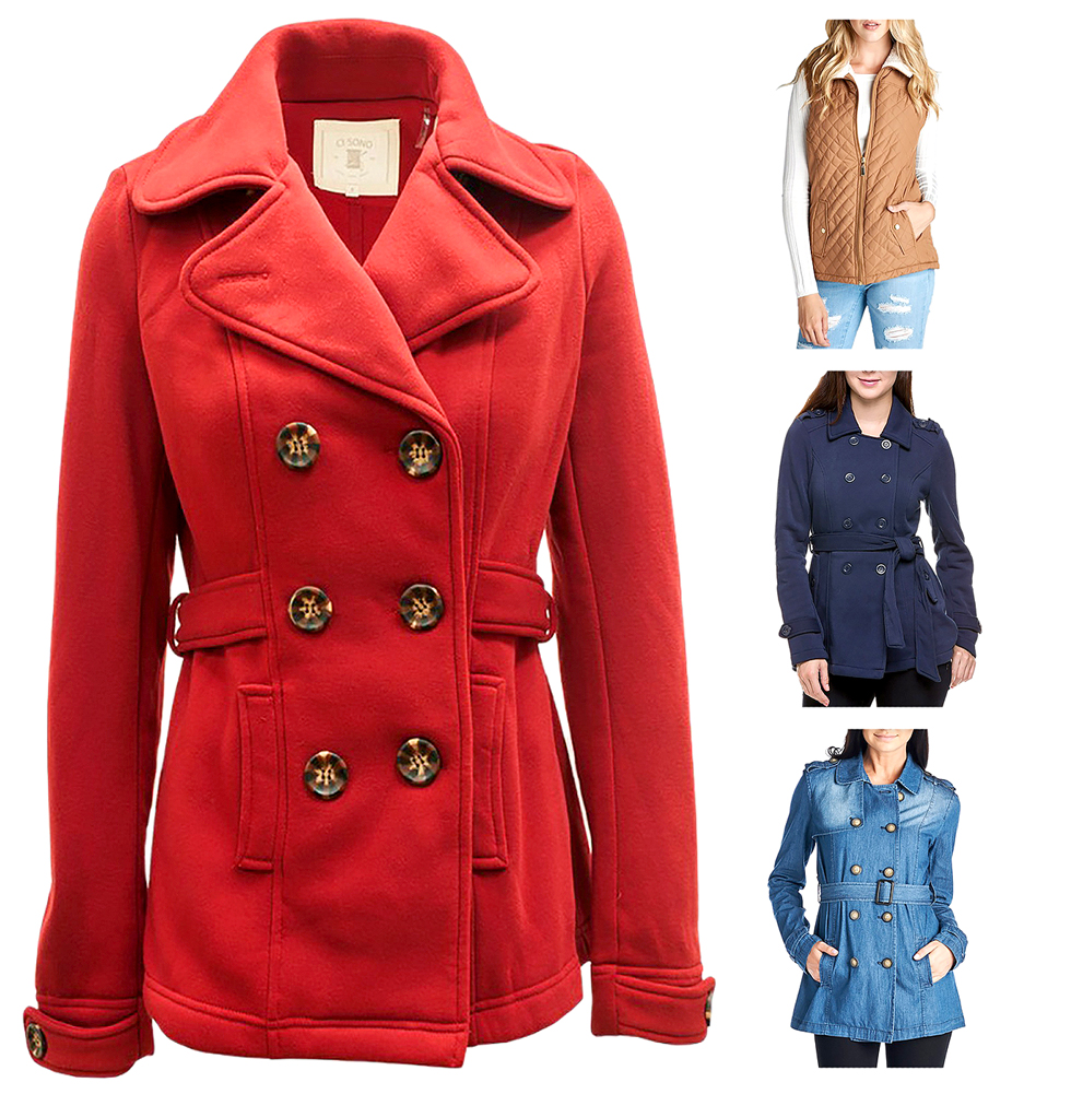 Belle Donne - Women Double Breasted Peacoat With Waist Belt Buttoned Cuffs