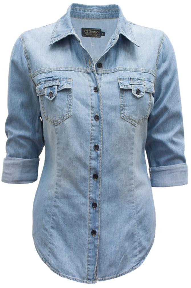 Belle Donne - Women Chambray Denim Shirts Button Up Shirt Blouse Denim Dress - Blue/Small