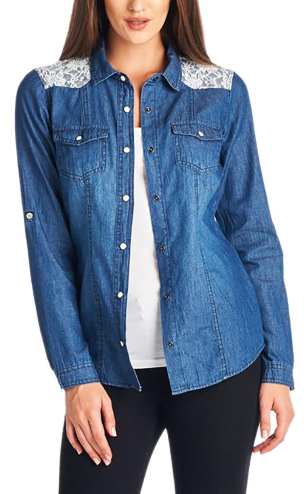 Belle Donne - Women Chambray Denim Shirts Button Up Shirt Blouse Denim Dress - Blue/Medium