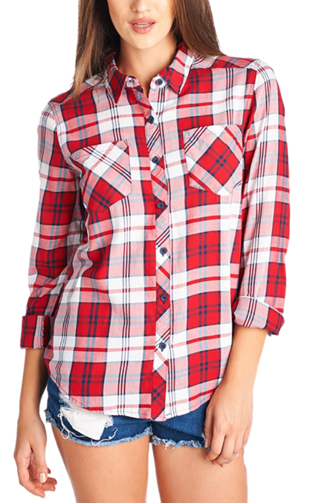 Belle Donne - Women Button Up Shirt Plaid Red Blue  Shirts Check Flannel Shirt - White/Small