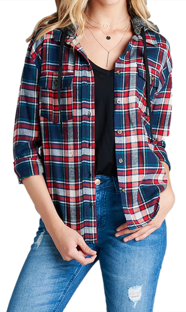 Belle Donne - Women Button Up Shirt Plaid Red Blue  Shirts Check Flannel Shirt - Taupe/Small