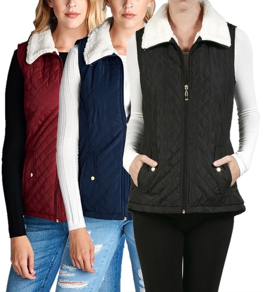 Womens Sleeveless Quilted Winter Puffer Vest Jacket by Belle Donne