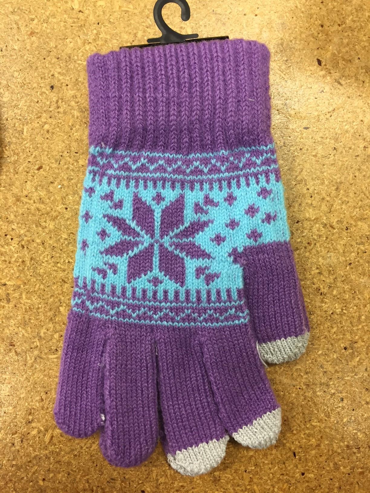 Belle Donne - Women's Touch Screen Gloves - Snow Flakes - Purple