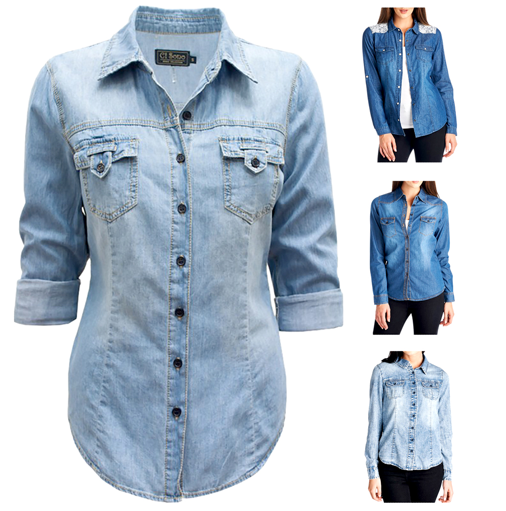 Belle Donne - Women Chambray Denim Shirts Button Up Shirt Blouse Denim Dress