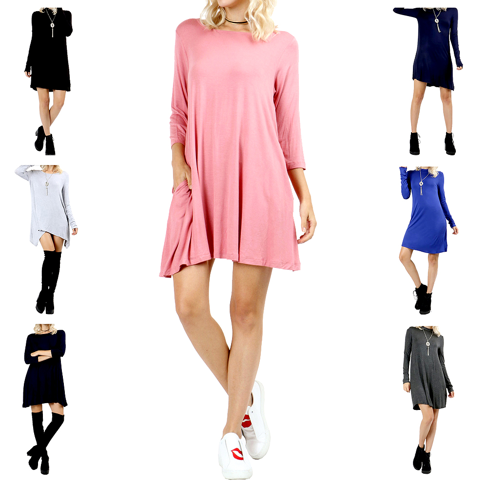Belle Donne Short Dress With Long Sleeves Loose Tunic Style With Mock Neck