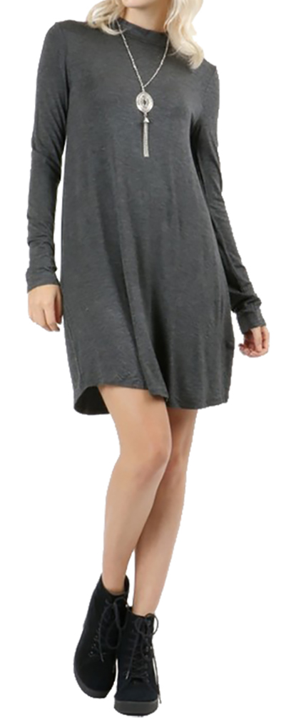 Belle Donne Short Dress With Long Sleeves Loose Tunic Style With Mock Neck - Charcoal/Small