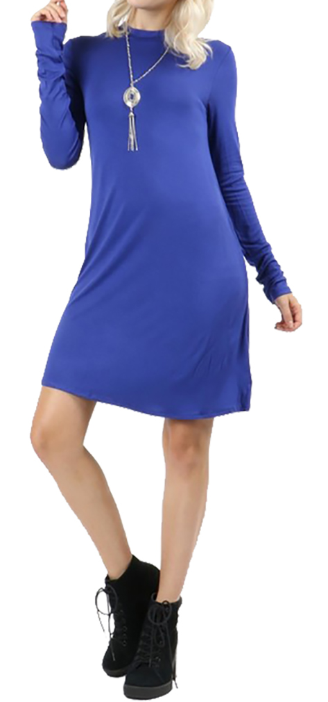 Belle Donne Short Dress With Long Sleeves Loose Tunic Style With Mock Neck - Bright Royal/Small