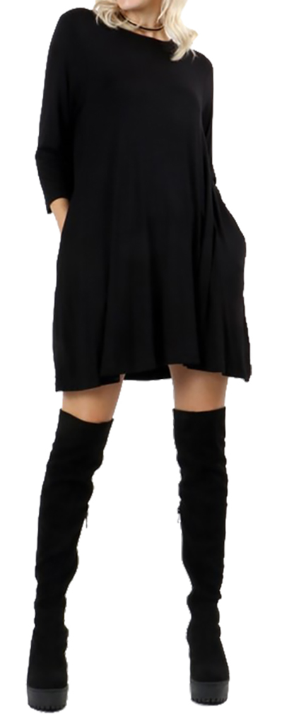 Belle Donne Short Dress With Long Sleeves Loose Tunic Style With Mock Neck - Black/Medium