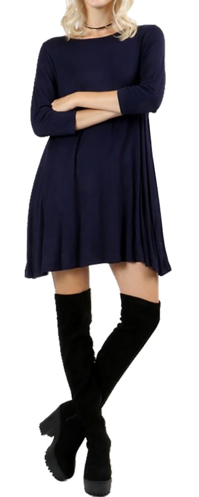 Belle Donne Short Dress With Long Sleeves Loose Tunic Style With Mock Neck - Navy/Medium