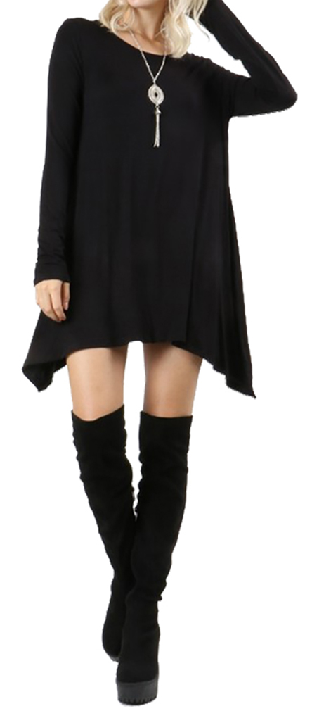 Belle Donne Short Dress With Long Sleeves Loose Tunic Style With Mock Neck - Black/Small