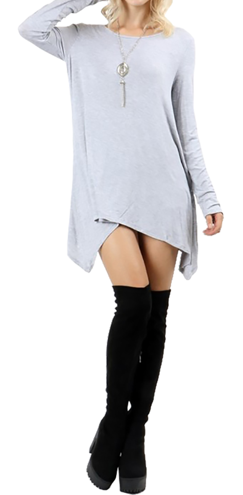 Belle Donne Short Dress With Long Sleeves Loose Tunic Style With Mock Neck - Heather Gray/Medium