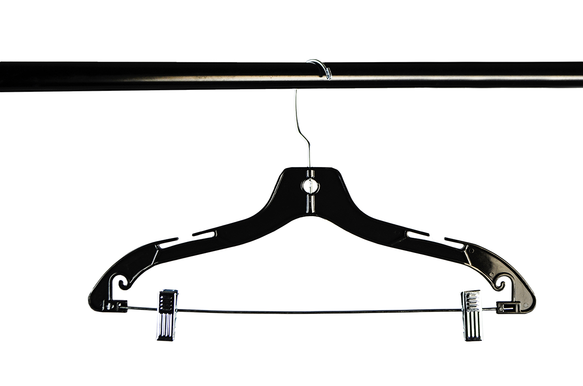 Shop72 - Clothing Hanger Black Plastic For Suit , Pant or Skirt Hanger 17 Inch