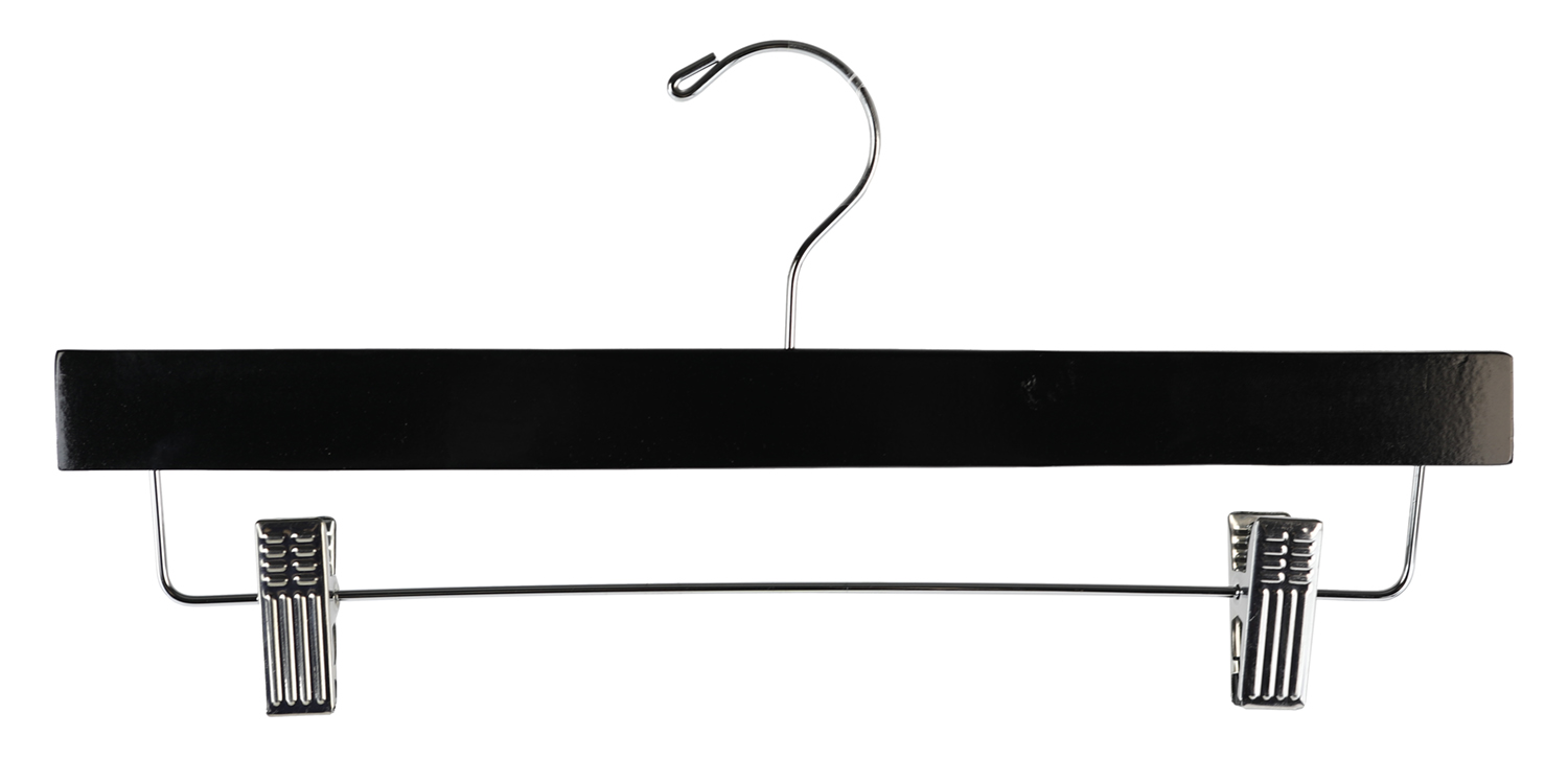 Shop72 - Clothing Wood Hanger Black 14 inch For Pants, Skirt or Slack Hanger